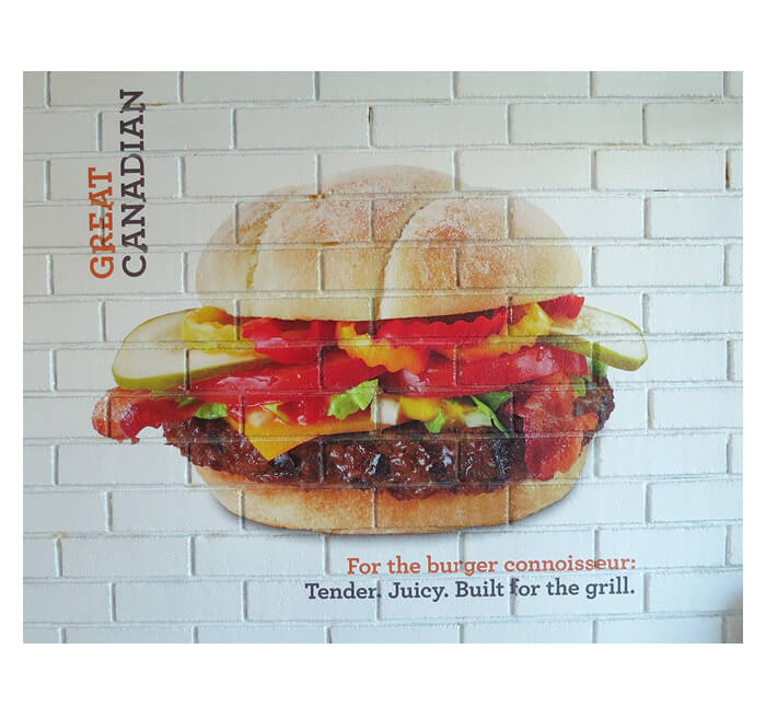self adhesive wall poster with hamburgern in poster