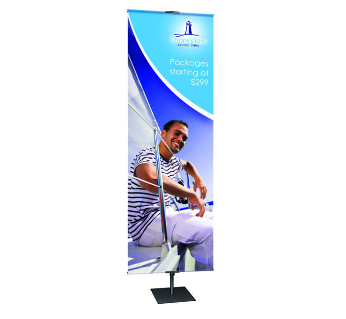 standing banner with logo on it