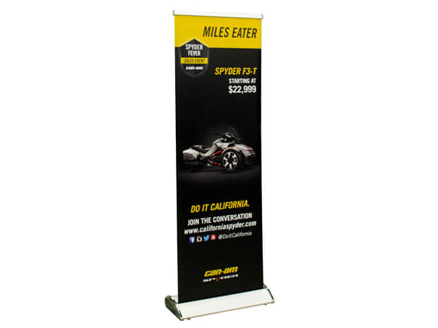 retractable banner stand with wing logo