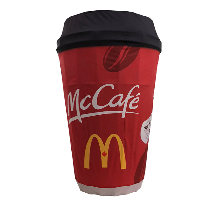3D ObjeX, a 3D custom-branded and made-to-measure replica of a brand product. This 3D ObjeX has the shape and look of a McDonald's coffee cup.