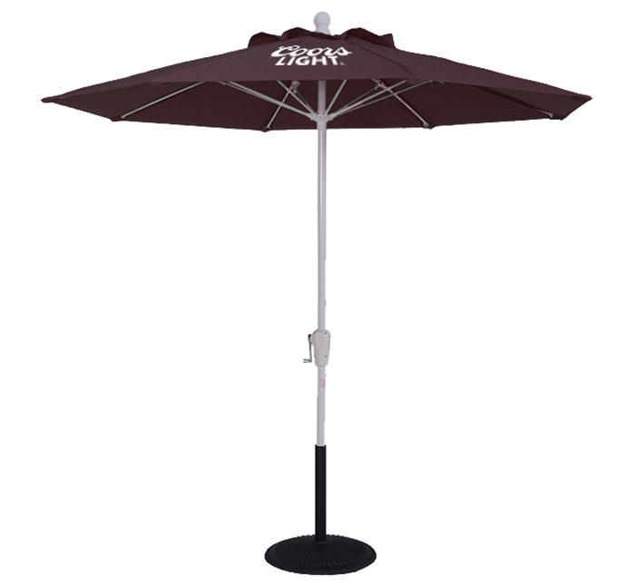 Purple Premium Umbrella with fiberglass ribs and a powder-coated steel pole with white Coors Light logo with black base.
