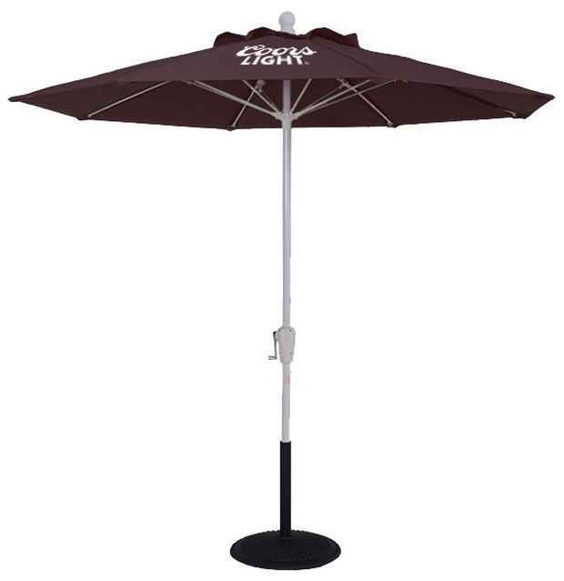 (Fr) Purple Premium Umbrella with fiberglass rods and silver powder coated aluminum pole with Coors Light branding, crank lift and black base.